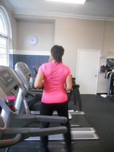 kim on the treadmill at the Y
