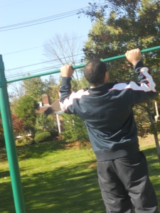 Mike doing pull up
