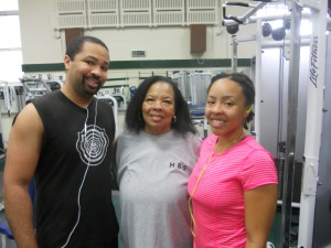 Mike, Geri and Kim in the weight room at the Y